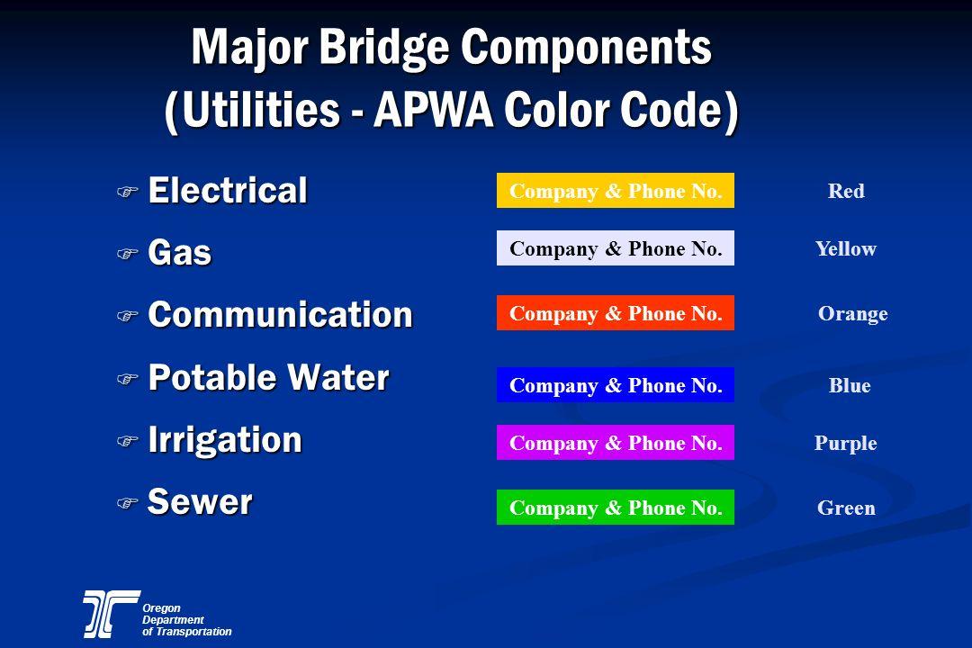 Oregon Department of Transportation Major Bridge Components (Utilities - APWA Color Code) F Electrical F Gas F Communication F Potable Water F Irrigat