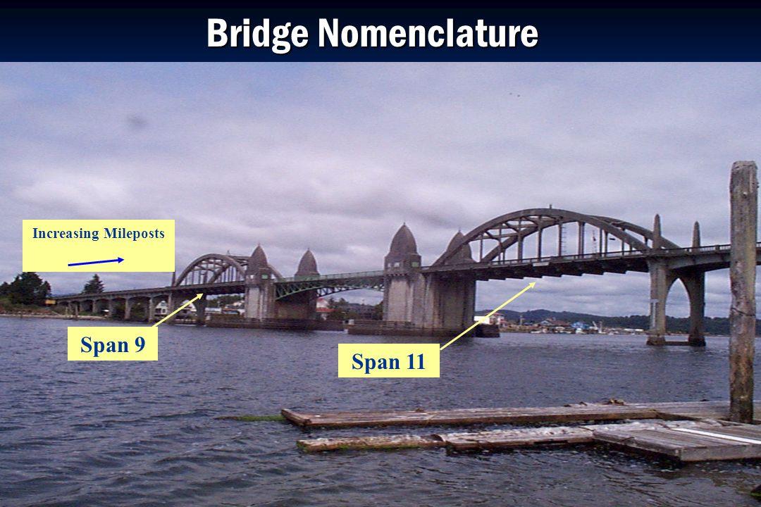 Oregon Department of Transportation Bridge Nomenclature Increasing Mileposts Span 9 Span 11