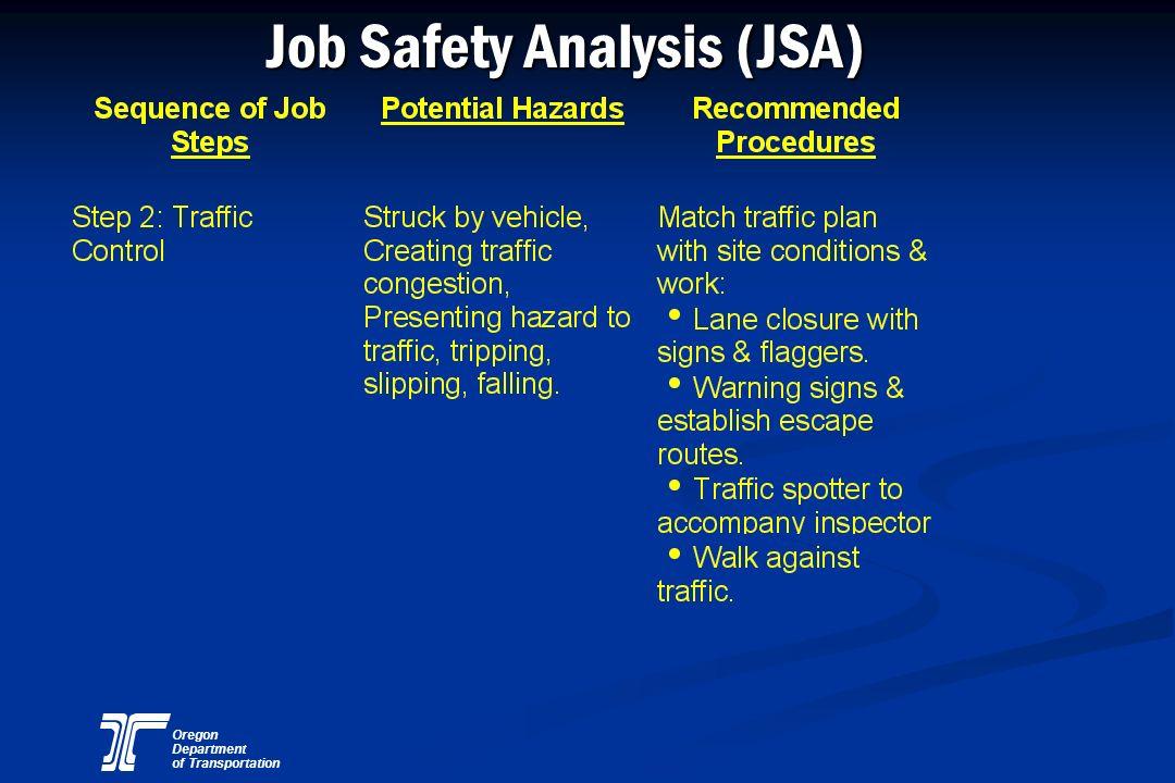Oregon Department of Transportation Job Safety Analysis (JSA)