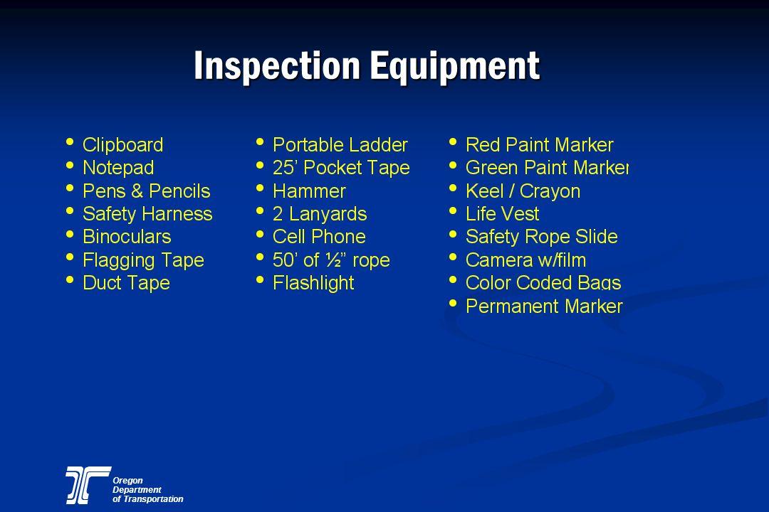 Oregon Department of Transportation Inspection Equipment