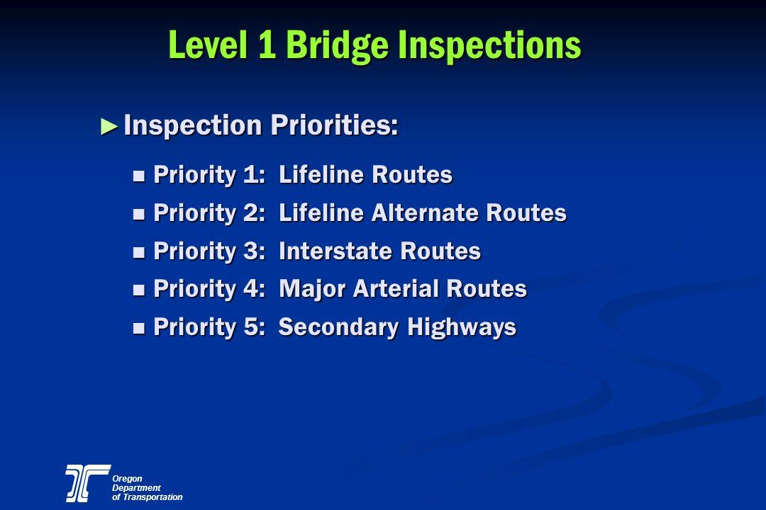 Oregon Department of Transportation Level 1 Bridge Inspections Inspection Priorities: Inspection Priorities: Priority 1: Lifeline Routes Priority 1: L