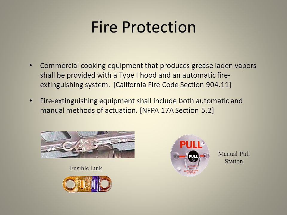 Fire Extinguishers A Class K portable fire extinguisher is required within 30 feet of all commercial cooking equipment.