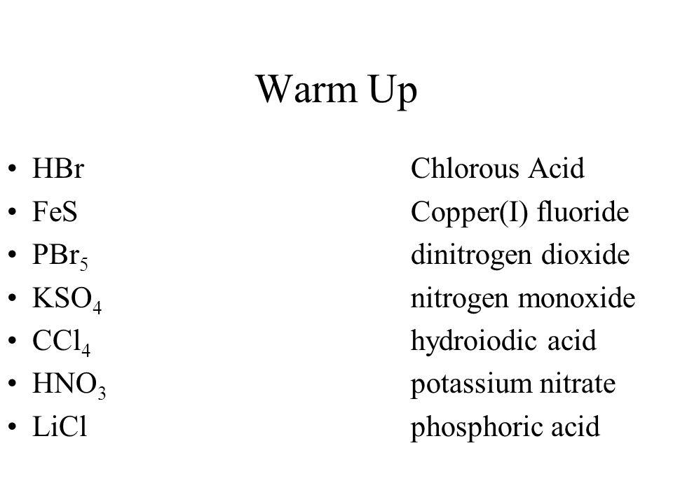 Warm Up HBrChlorous Acid FeSCopper(I) fluoride PBr 5 dinitrogen dioxide KSO 4 nitrogen monoxide CCl 4 hydroiodic acid HNO 3 potassium nitrate LiClphos