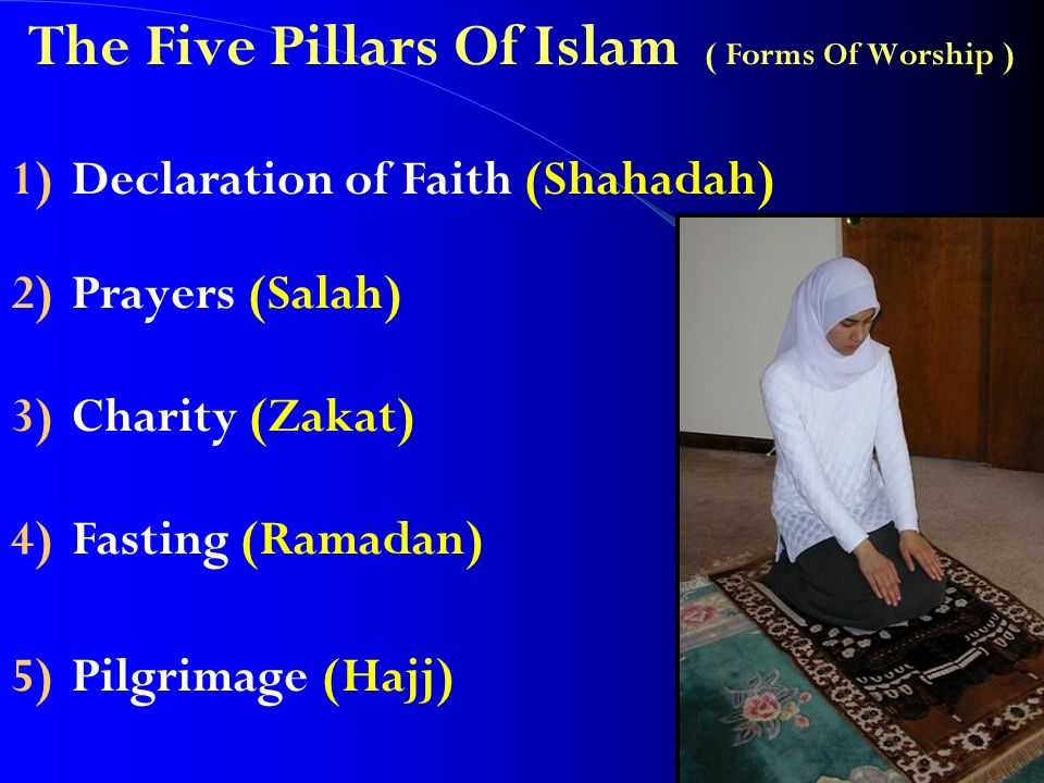 The Five Pillars Of Islam ( Forms Of Worship ) 1)Declaration of Faith (Shahadah) 2)Prayers (Salah) 3)Charity (Zakat) 4)Fasting (Ramadan) 5)Pilgrimage (Hajj)