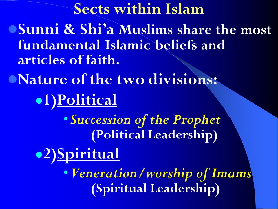 Sects within Islam Sunni & Shia Muslims share the most fundamental Islamic beliefs and articles of faith. Nature of the two divisions: 1)Political Suc