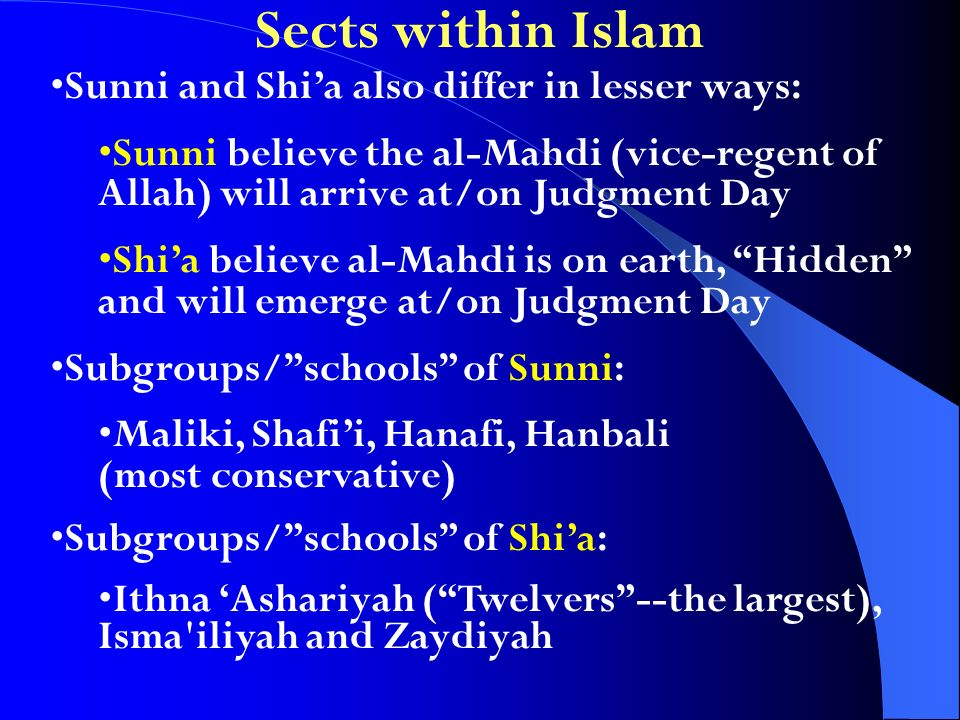 Sects within Islam Sunni and Shia also differ in lesser ways: Sunni believe the al-Mahdi (vice-regent of Allah) will arrive at/on Judgment Day Shia be