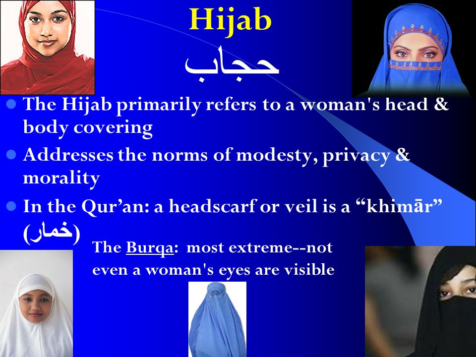 Hijab The Hijab primarily refers to a woman s head & body covering Addresses the norms of modesty, privacy & morality In the Quran: a headscarf or veil is a khim ā r ( خمار ) حجاب The Burqa: most extreme--not even a woman s eyes are visible