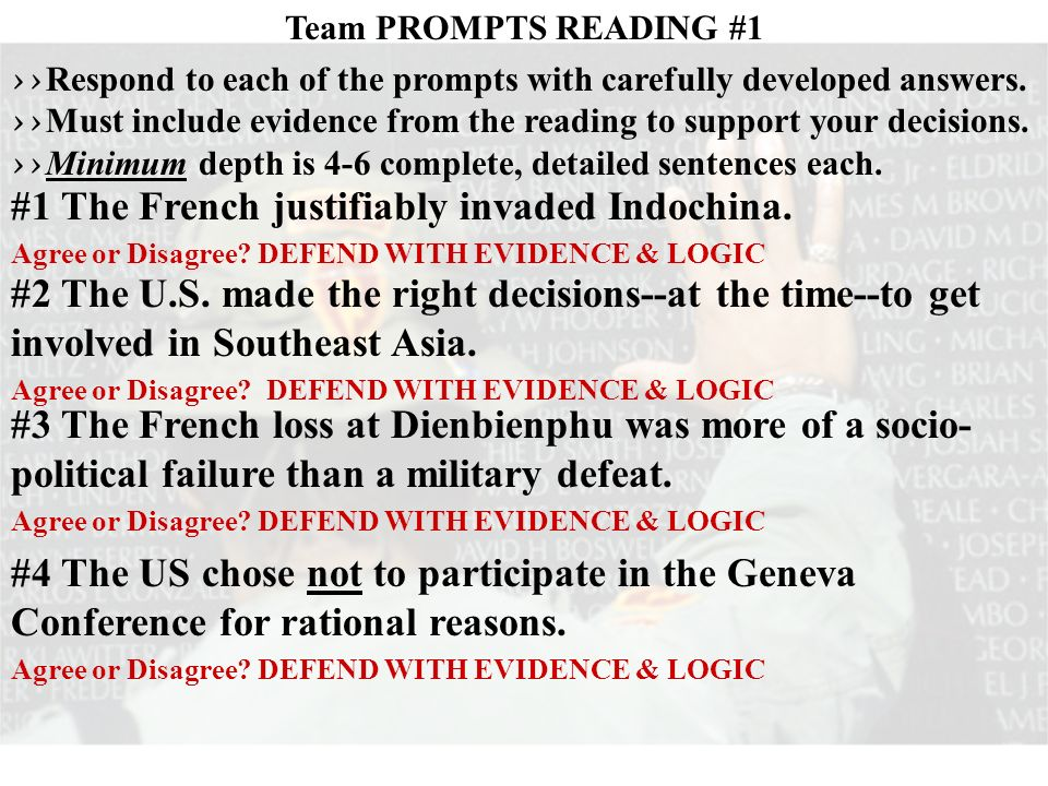 Team PROMPTS READING #1 >> Respond to each of the prompts with carefully developed answers.