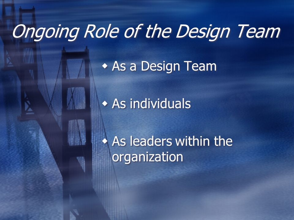 Ongoing Role of the Design Team As a Design Team As individuals As leaders within the organization As a Design Team As individuals As leaders within t