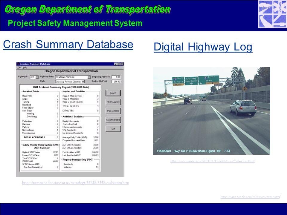 Project Safety Management System Crash Summary Database Digital Highway Log http://www.oregon.gov/ODOT/TD/TDATA/rics/VideoLog.shtml http://maps.google.com/help/maps/streetviewhttp://maps.google.com/help/maps/streetview/ http://intranet.odot.state.or.us/tstrafmgt/PSMS/SPIS/csdsumm.htm