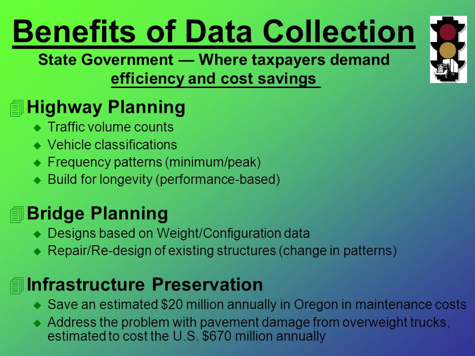 Benefits of Data Collection State Government Where taxpayers demand efficiency and cost savings 4Highway Planning u Traffic volume counts u Vehicle cl
