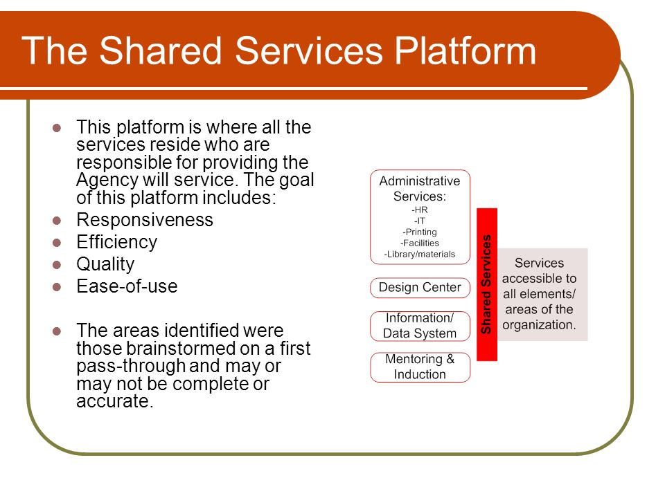 The Shared Services Platform This platform is where all the services reside who are responsible for providing the Agency will service.