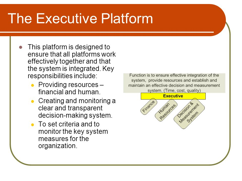 The Executive Platform This platform is designed to ensure that all platforms work effectively together and that the system is integrated.
