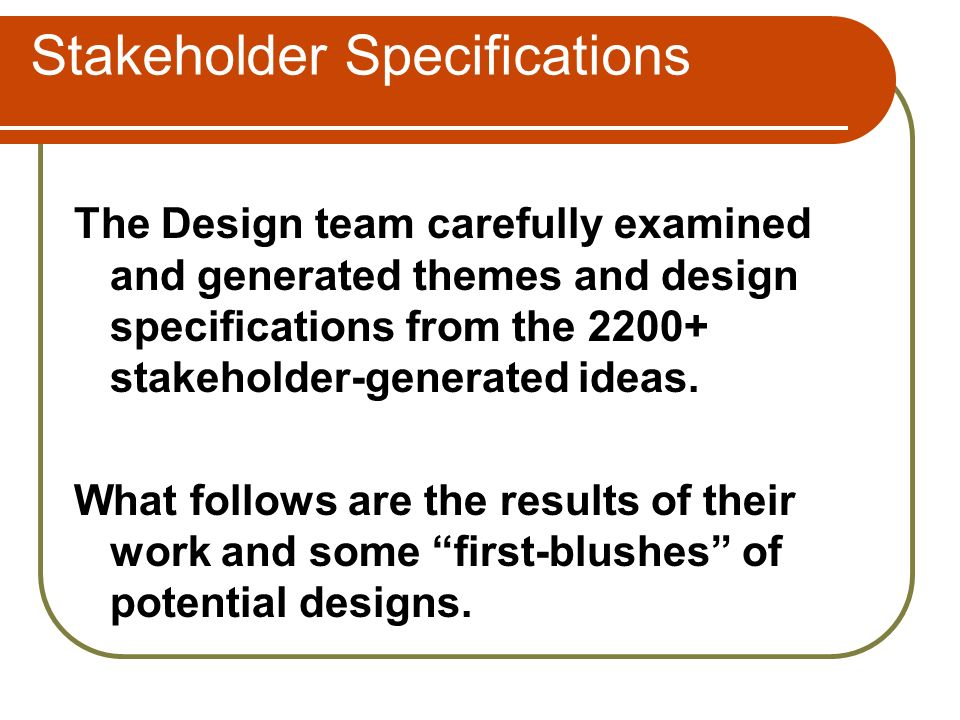 Stakeholder Specifications The Design team carefully examined and generated themes and design specifications from the 2200+ stakeholder-generated ideas.