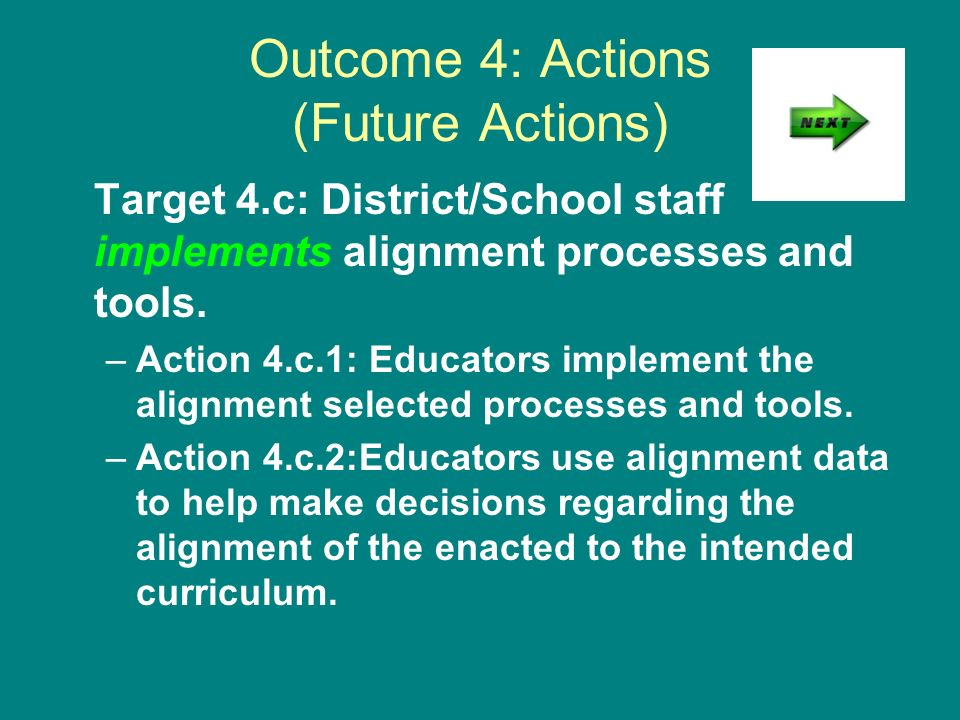 Outcome 4: Actions (Future Actions) Target 4.c: District/School staff implements alignment processes and tools. –Action 4.c.1: Educators implement the