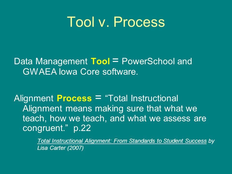 Tool v. Process Data Management Tool = PowerSchool and GWAEA Iowa Core software. Alignment Process = Total Instructional Alignment means making sure t