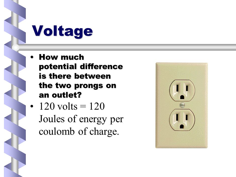 Voltage How much potential difference is there between the two prongs on an outlet How much potential difference is there between the two prongs on an outlet.