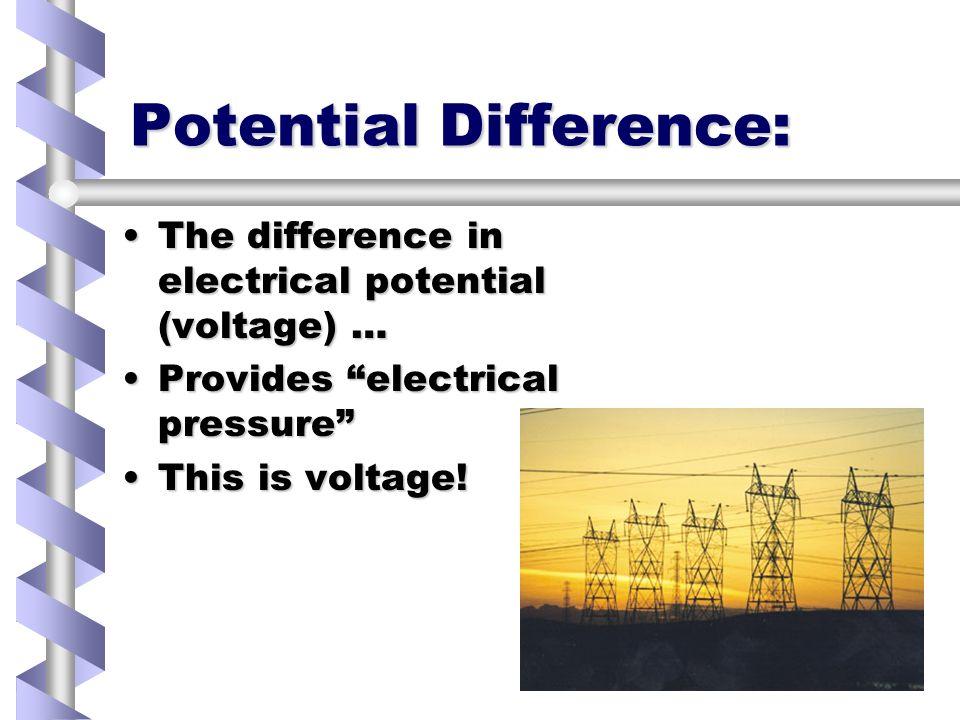 Voltage No potential difference = no flow.No potential difference = no flow.