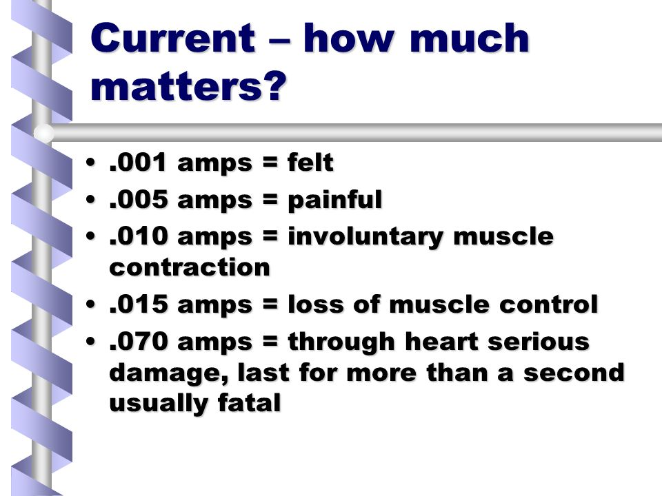Current – how much matters .001 amps = felt.001 amps = felt.005 amps = painful.005 amps = painful.010 amps = involuntary muscle contraction.010 amps = involuntary muscle contraction.015 amps = loss of muscle control.015 amps = loss of muscle control.070 amps = through heart serious damage, last for more than a second usually fatal.070 amps = through heart serious damage, last for more than a second usually fatal