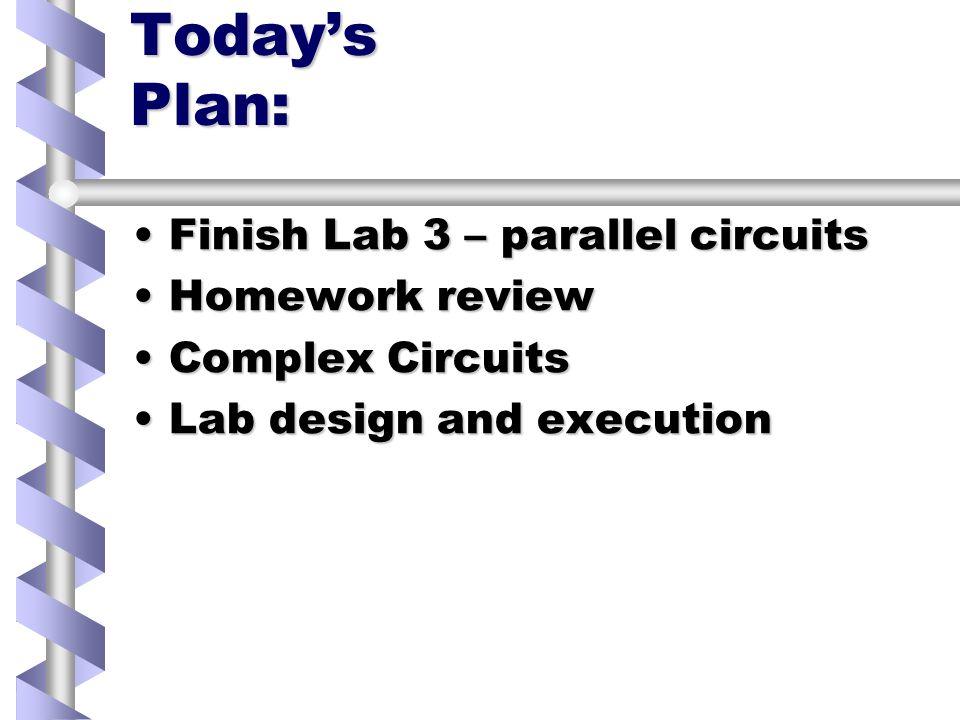 Todays Plan: Finish Lab 3 – parallel circuitsFinish Lab 3 – parallel circuits Homework reviewHomework review Complex CircuitsComplex Circuits Lab design and executionLab design and execution