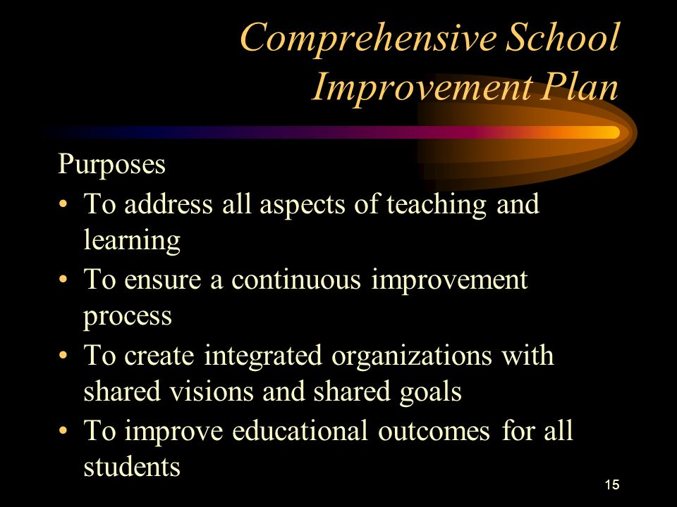14 CSIP Components Community Involvement Data Collection, Analysis, and Goal Setting Standards and Benchmarks Determination and Implementation of Actions to meet the Needs (Action Planning) State Indicators Assessment of Student Progress Evaluation of CSIP Annual Progress Report