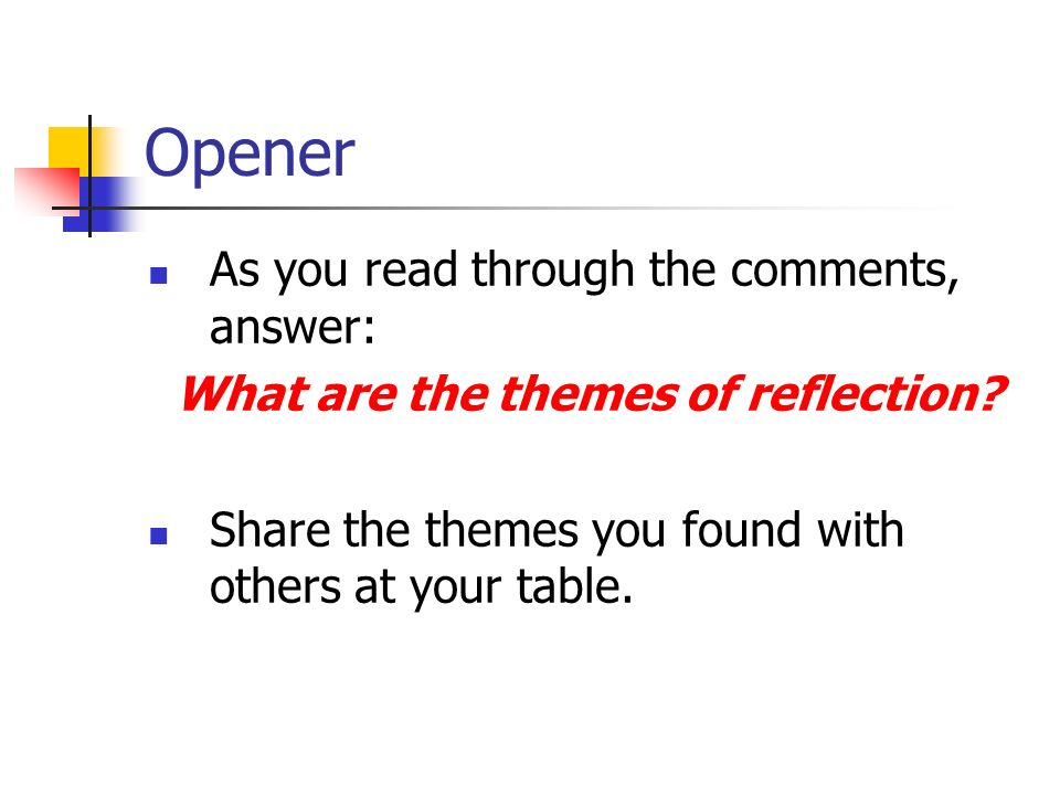 Opener As you read through the comments, answer: What are the themes of reflection.