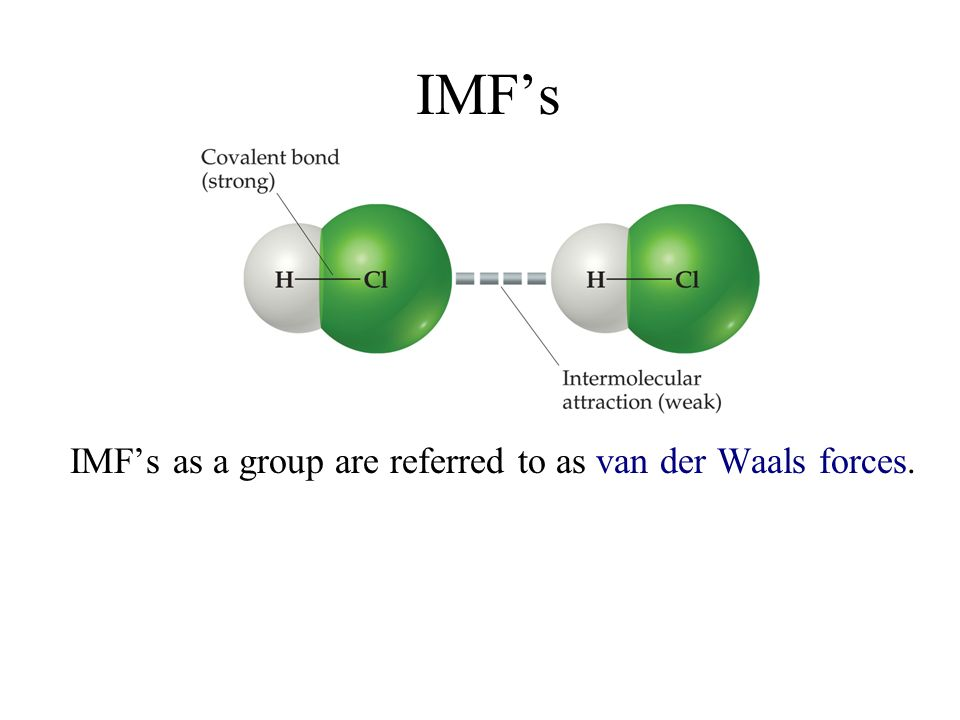 IMFs IMFs as a group are referred to as van der Waals forces.