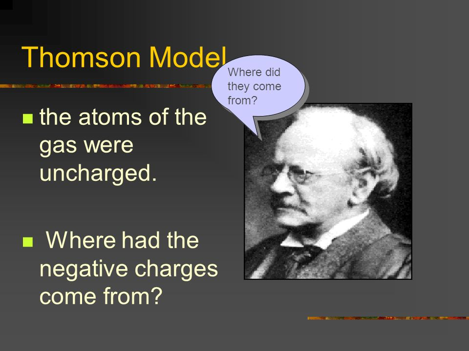 Thomson Model the atoms of the gas were uncharged. Where had the negative charges come from? Where did they come from?