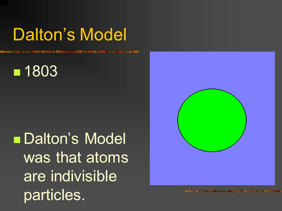 Daltons Model 1803 Daltons Model was that atoms are indivisible particles.