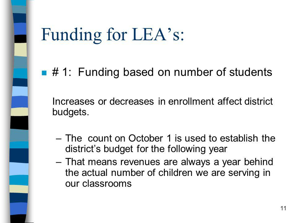 11 Funding for LEAs: n # 1: Funding based on number of students Increases or decreases in enrollment affect district budgets. –The count on October 1