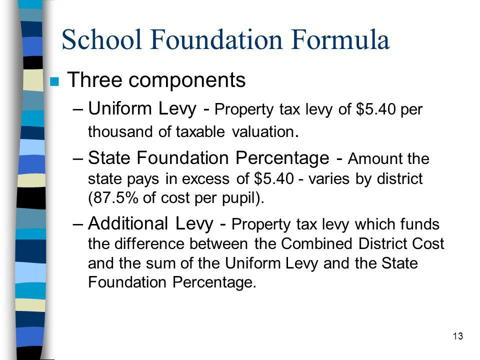 13 School Foundation Formula n Three components –Uniform Levy - Property tax levy of $5.40 per thousand of taxable valuation. –State Foundation Percen