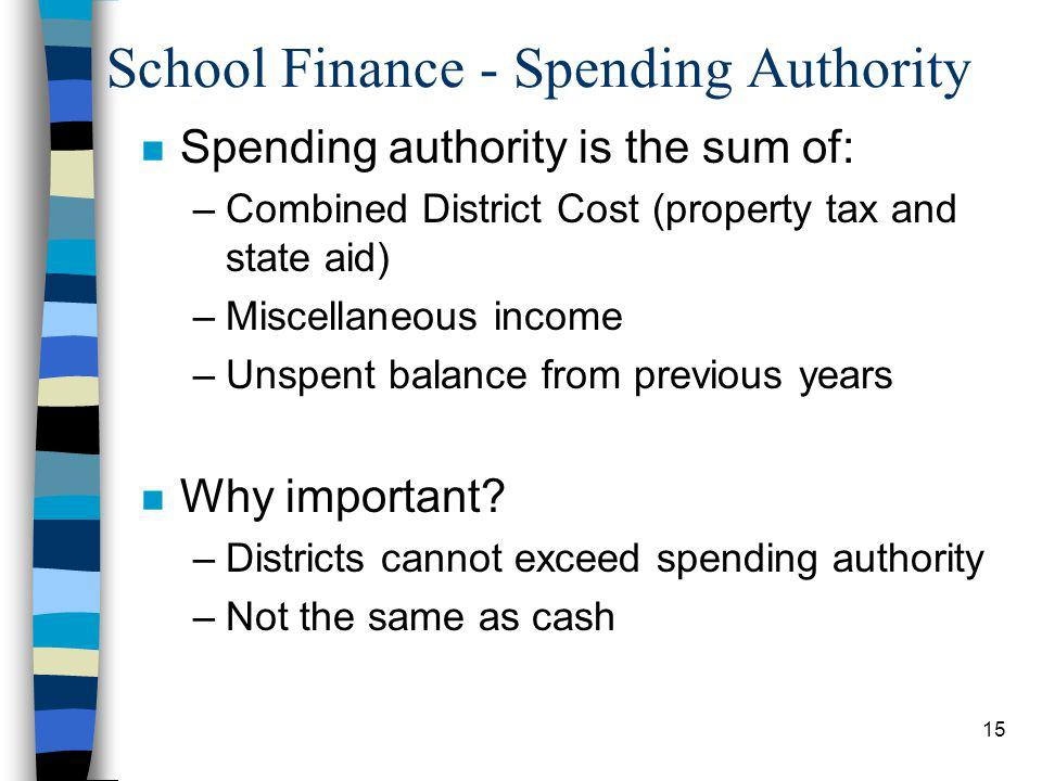 15 School Finance - Spending Authority n Spending authority is the sum of: –Combined District Cost (property tax and state aid) –Miscellaneous income