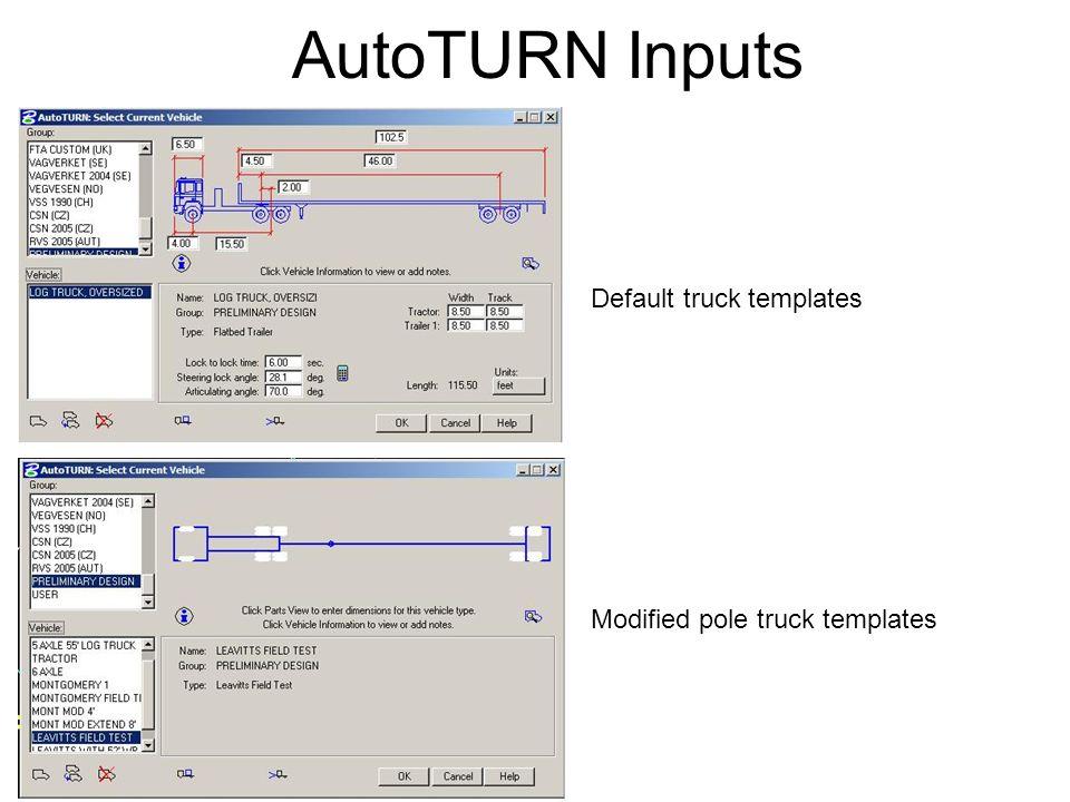 AutoTURN Inputs Default truck templates Modified pole truck templates