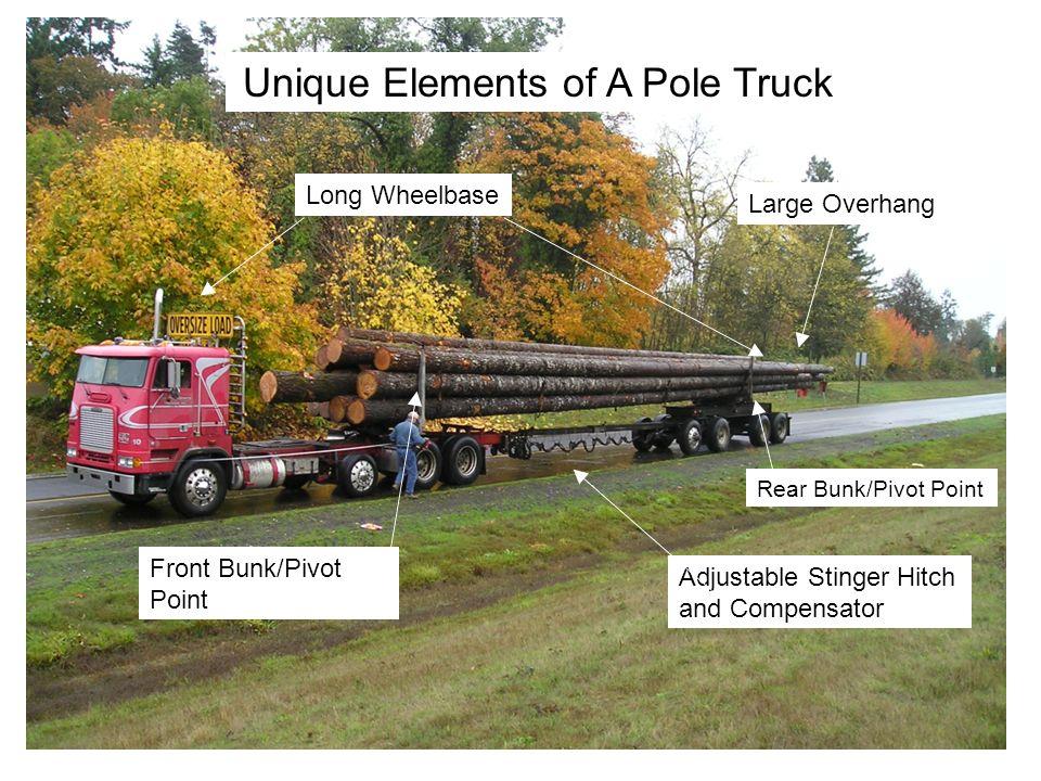 Unique Elements of A Pole Truck Adjustable Stinger Hitch and Compensator Front Bunk/Pivot Point Rear Bunk/Pivot Point Large Overhang Long Wheelbase