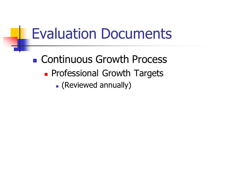 Evaluation Documents Continuous Growth Process Professional Growth Targets (Reviewed annually)