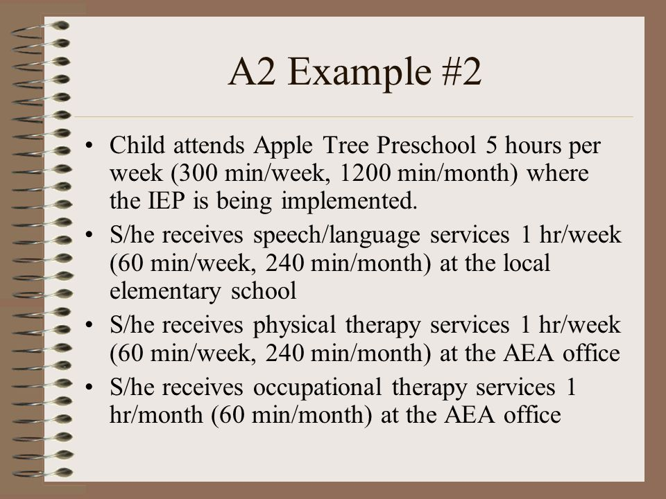 A2 Example #2 Child attends Apple Tree Preschool 5 hours per week (300 min/week, 1200 min/month) where the IEP is being implemented.