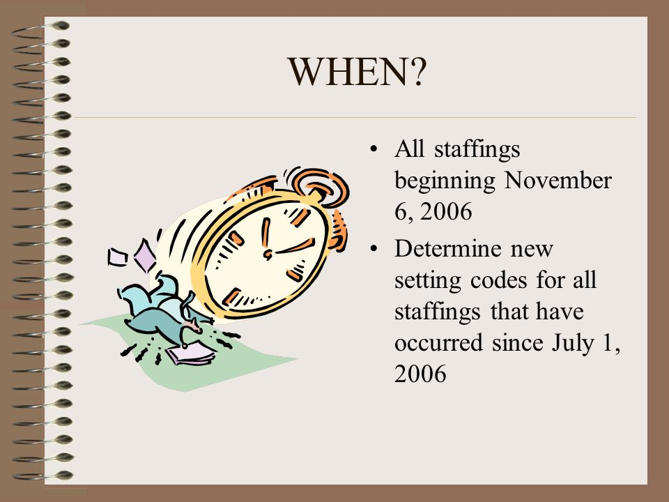WHEN? All staffings beginning November 6, 2006 Determine new setting codes for all staffings that have occurred since July 1, 2006