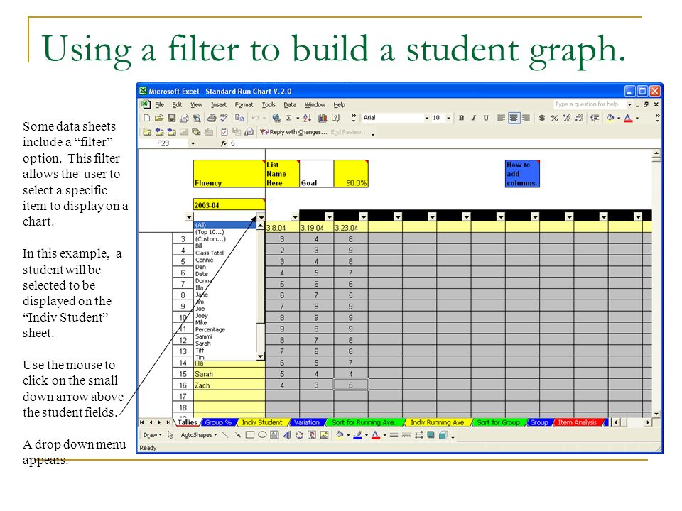Using a filter to build a student graph. Use the mouse to select the student.