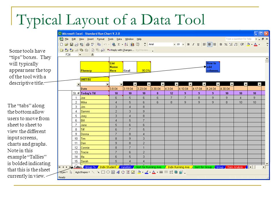 Typical Layout of a Data Tool Tabs titled Tallies indicate a sheet where student data is to be entered.