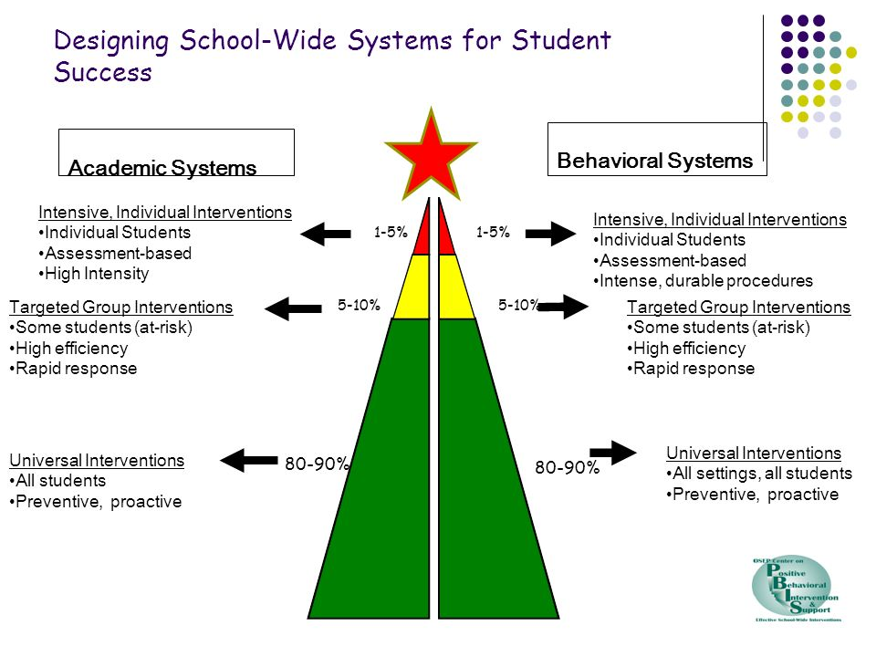 Academic Systems Behavioral Systems 1-5% 5-10% 80-90% Intensive, Individual Interventions Individual Students Assessment-based High Intensity Intensiv