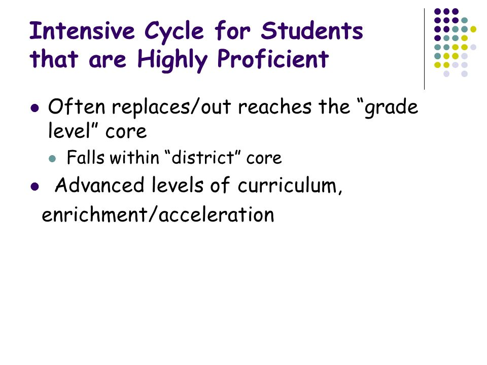 Intensive Cycle for Students that are Highly Proficient Often replaces/out reaches the grade level core Falls within district core Advanced levels of