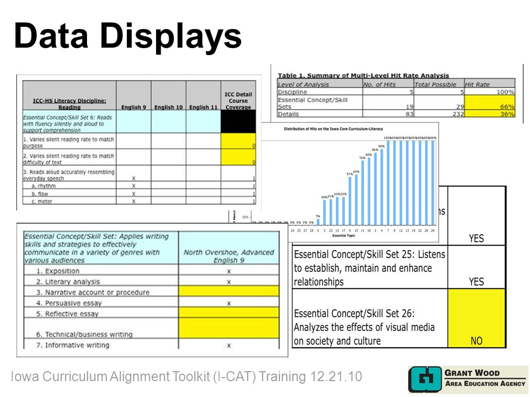 Data Displays Iowa Curriculum Alignment Toolkit (I-CAT) Training 12.21.10