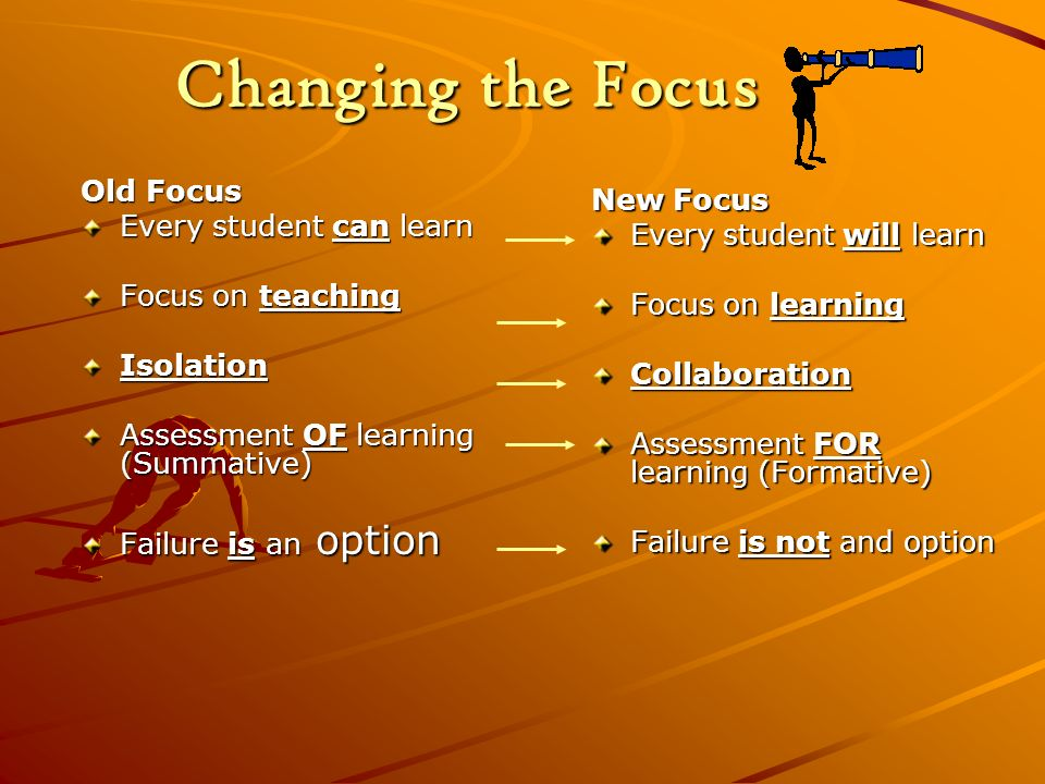 Changing the Focus Old Focus Every student can learn Focus on teaching Isolation Assessment OF learning (Summative) Failure is an option New Focus Eve