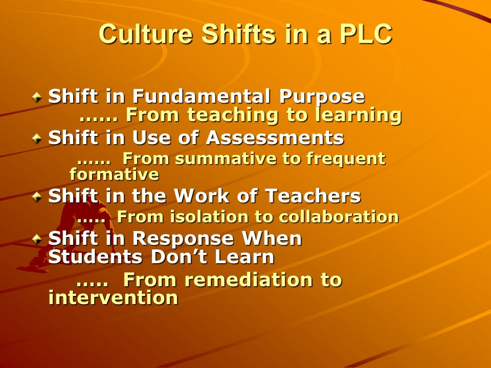 Culture Shifts in a PLC Shift in Fundamental Purpose …… From teaching to learning Shift in Use of Assessments …… From summative to frequent formative