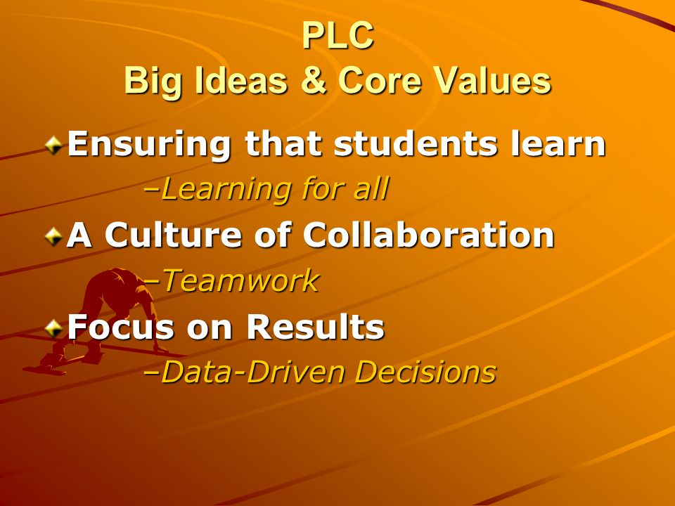 Ensuring that students learn –Learning for all A Culture of Collaboration –Teamwork Focus on Results –Data-Driven Decisions PLC Big Ideas & Core Value