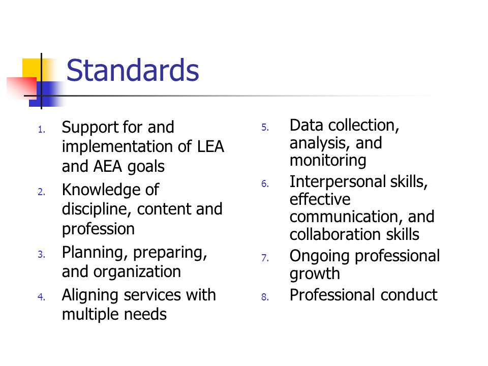 Standards 1. Support for and implementation of LEA and AEA goals 2.