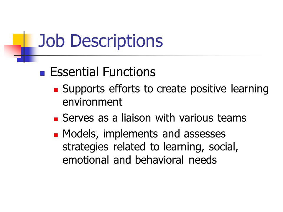 Job Descriptions Essential Functions Supports efforts to create positive learning environment Serves as a liaison with various teams Models, implements and assesses strategies related to learning, social, emotional and behavioral needs