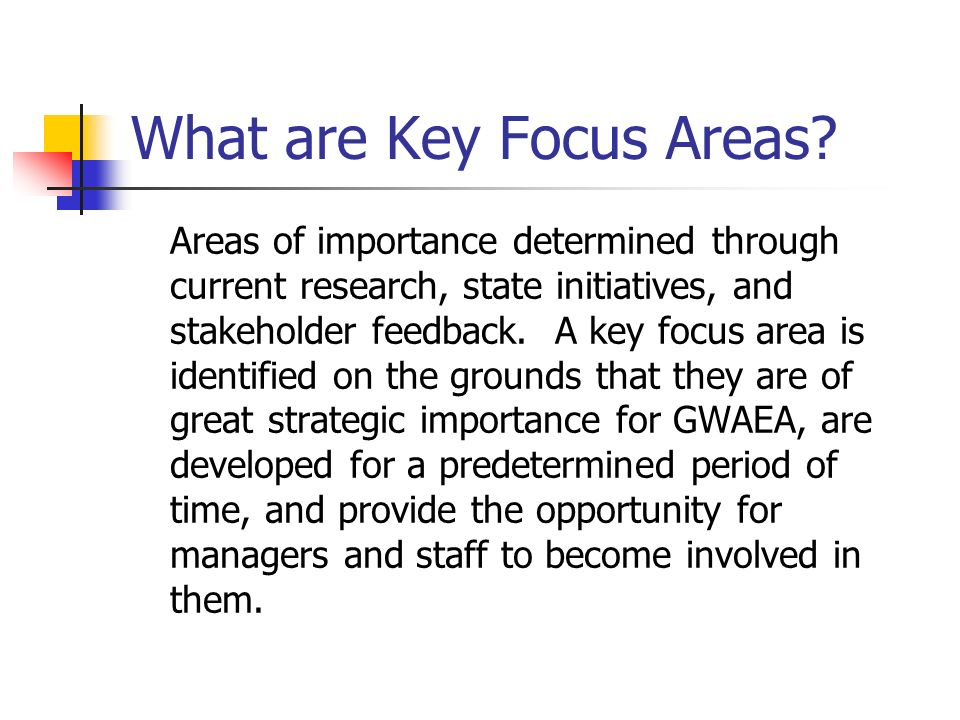 What are Key Focus Areas.