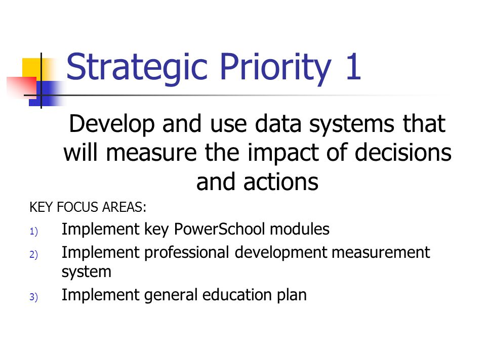 Strategic Priority 1 Develop and use data systems that will measure the impact of decisions and actions KEY FOCUS AREAS: 1) Implement key PowerSchool modules 2) Implement professional development measurement system 3) Implement general education plan