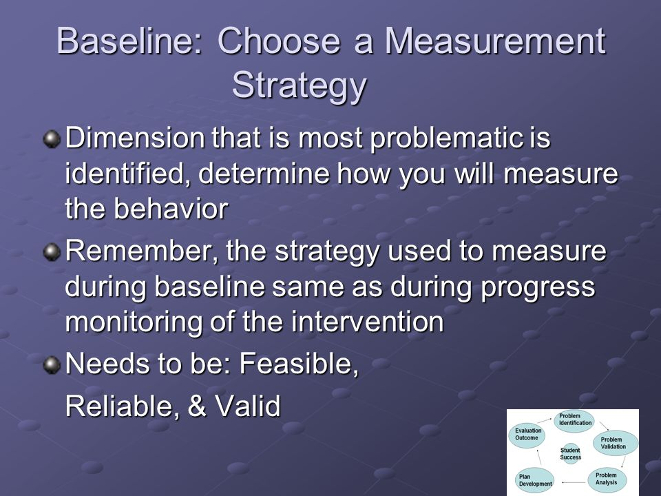 Baseline: Choose a Measurement Strategy Dimension that is most problematic is identified, determine how you will measure the behavior Remember, the strategy used to measure during baseline same as during progress monitoring of the intervention Needs to be: Feasible, Reliable, & Valid